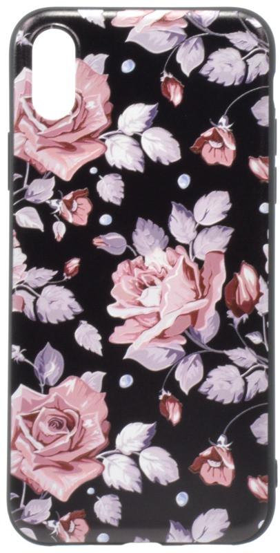 """Чохол-накладка OMEVE для iPhone X (5.8"""") Pictures ser. Рожеві рози Чорний"""