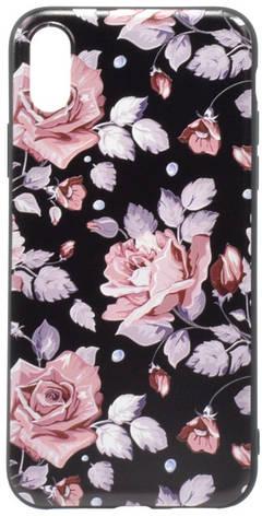 """Чохол-накладка OMEVE для iPhone X (5.8"""") Pictures ser. Рожеві рози Чорний, фото 2"""