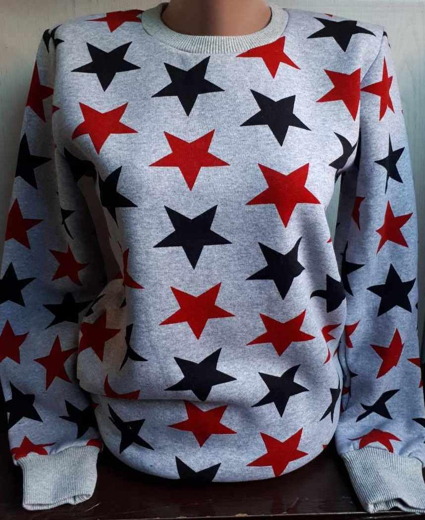 Батник на флисе со звёздами коттоновый женский (L, XL)