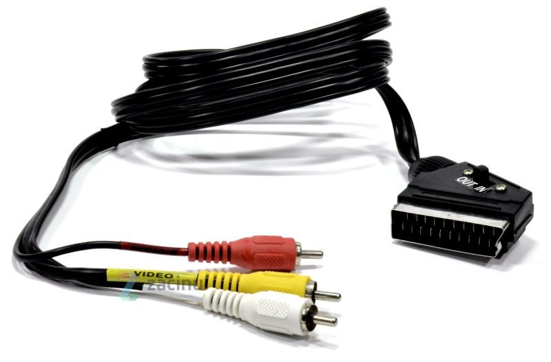 Аудіо-відео кабель Exxter 3 RCA штекери - Scart штекер/ 150см/ Чорний