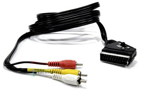 Аудіо-відео кабель Exxter 3 RCA штекери - Scart штекер/ 150см/ Чорний, фото 2