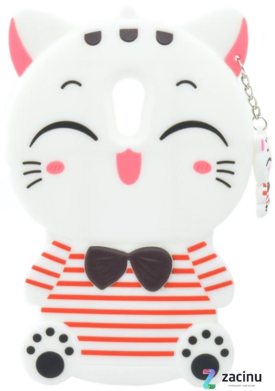 Чохол-накладка для Meizu Pro 6 Hello kitty ser. Об'ємний З брілком Киця Білий