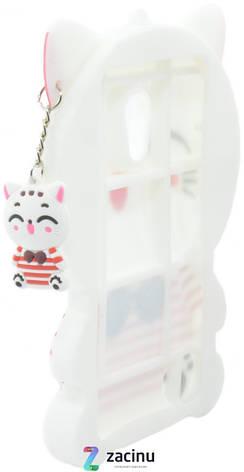 Чохол-накладка для Meizu Pro 6 Hello kitty ser. Об'ємний З брілком Киця Білий, фото 2
