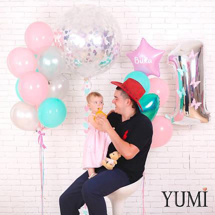 Детское оформление из шара-гиганта с конфетти и гирляндой сердечки, цифры и двух связок, фото 2
