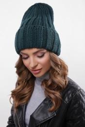 Модная женская шапка вязаная с отворотом
