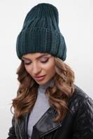 Модная женская шапка вязаная с отворотом, фото 1