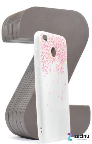 Чохол-накладка для Xiaomi Redmi 4X TPU Soft touch ser. Малюнок Квітів рожевих Матовий/прозорий, фото 2