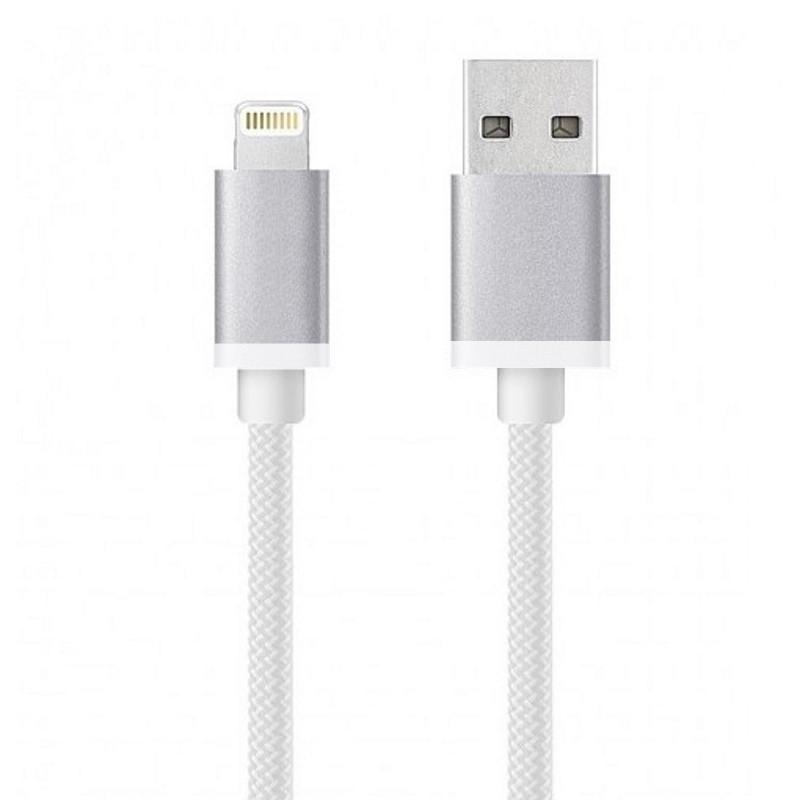 Кабель USB - Lightning для iPhone 5/SE/6/7 з обплетенням Білий/сріблястий