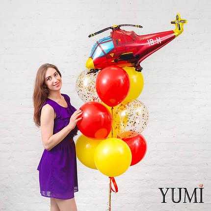 Фонтан из шара Красный вертолет, 4 желтых, 3 красных и 2 шаров с золотым конфетти, фото 2