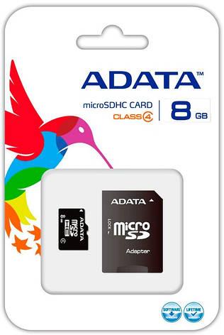 Карта пам'яті microSDHC A-DATA 8GB class 4 +adapter SD (AUSDH8GCL4-RA1), фото 2