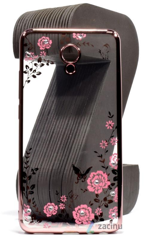 Чохол-накладка для Meizu M5 Note Квіти Прозорий/рожевий(341102)