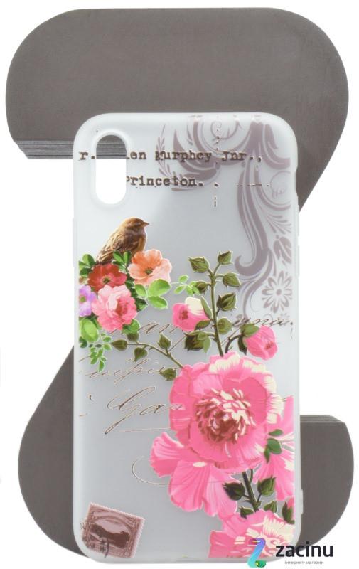 """Чохол-накладка OMEVE для iPhone X (5.8"""") Pictures ser. Квіти та пташка Прозорий/матовий"""