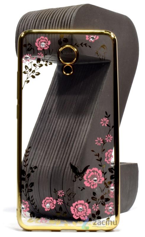 Чехол накладка для Meizu M5 Note Цветы Прозрачный / золотистый
