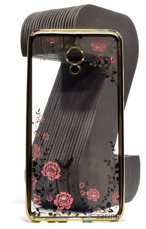 Чохол-накладка для Meizu M5 Note Квіти Прозорий/золотистий, фото 2