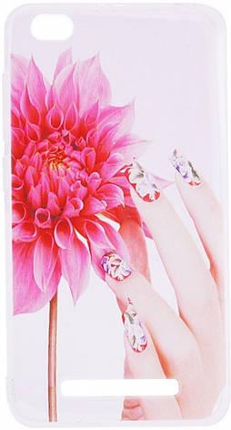 Чохол-накладка для Xiaomi Redmi 4a Cute Print ser. Flowers (fingers) Прозорий/безколірний, фото 2