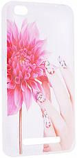 Чохол-накладка для Xiaomi Redmi 4a Cute Print ser. Flowers (fingers) Прозорий/безколірний, фото 3