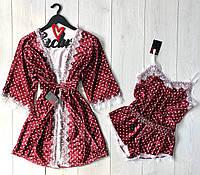 Велюровый комплект халат майка и шорты