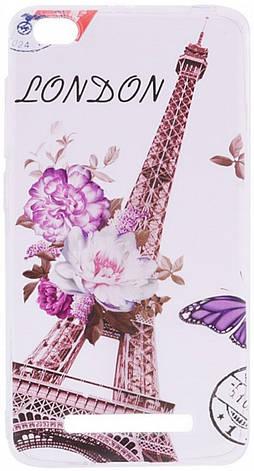 Чохол-накладка для Xiaomi Redmi 4a Cute Print ser. Eiffel Tower (Flowers) Прозорий/безколірний, фото 2