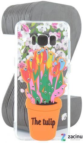 Чехол накладка TPU для Samsung G950F S8 Flowers diamonds ser. Цветы (The tulip) Прозрачный / Оранжевый, фото 2