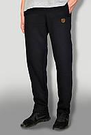 Мужские очень теплые штаны с начёсом ткань Турция цвет черный с желтым логотипом карманы на замках
