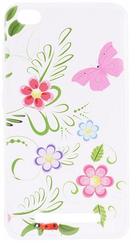 Чехол накладка для Xiaomi Redmi 4a Cute Print ser. Flowers (Pink Butterfly) Прозрачный / бесцветный