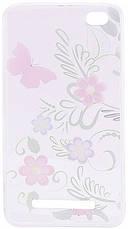 Чехол накладка для Xiaomi Redmi 4a Cute Print ser. Flowers (Pink Butterfly) Прозрачный / бесцветный, фото 2