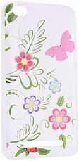 Чехол накладка для Xiaomi Redmi 4a Cute Print ser. Flowers (Pink Butterfly) Прозрачный / бесцветный, фото 3