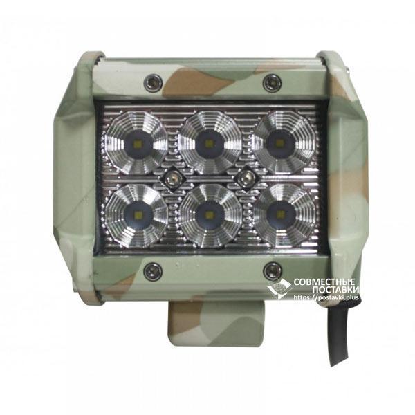 18W / 30 (6 x 3W / широкий луч, прямоугольный корпус) 1800 LM LED Фара рабочая LB0031FM (JFD-1048) (Польша)