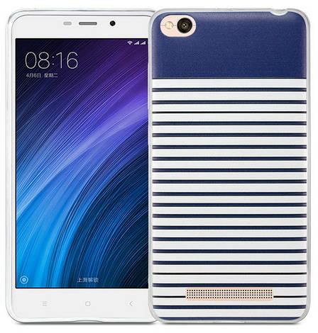 Чехол накладка Utty для Xiaomi Redmi 4a 3D Pattern Ultra Thin TPU Case Белый / синий, фото 2