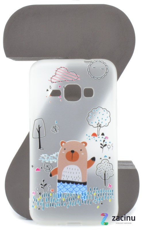 Чехол накладка TPU для Samsung J120H J1 (2016) Fashion ZOO ser. Медведь Прозрачный / матовый