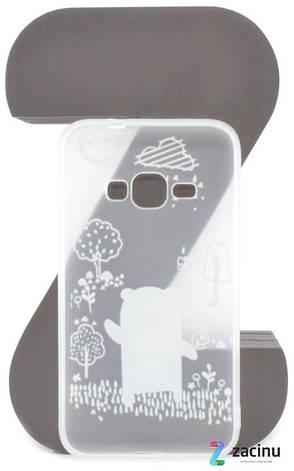 Чохол-накладка TPU для Samsung J120H J1(2016) Fashion ZOO ser. Ведмідь Прозорий/матовий, фото 2