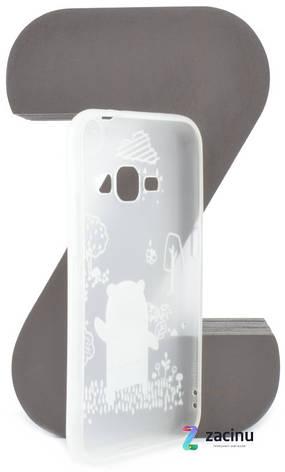Чехол накладка TPU для Samsung J120H J1 (2016) Fashion ZOO ser. Медведь Прозрачный / матовый, фото 2