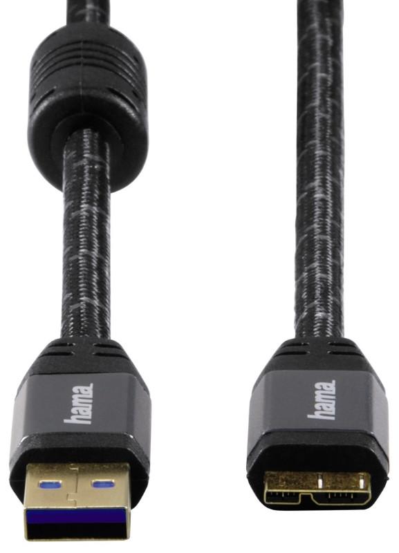 Кабель Hama 00125232 USB A - microUSB B 3.0 180см Чорний