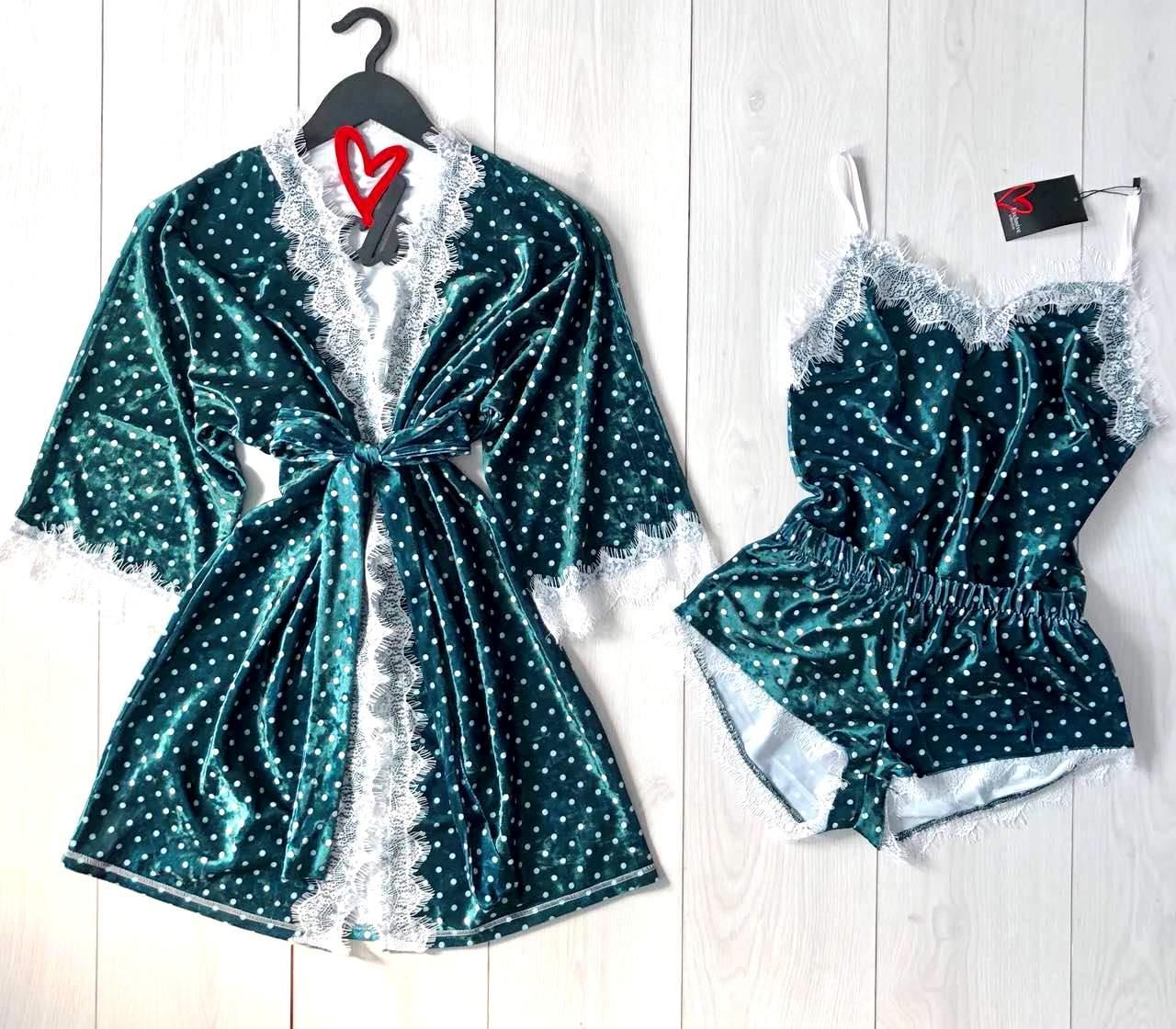 Женский халат для дома в комплекте майка и шорты