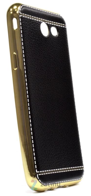 Чехол накладка для Samsung J330 J3 (2017) TPU Имитация кожи Черный