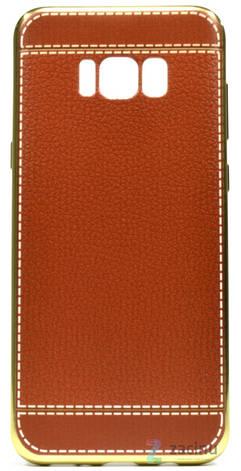 Чехол накладка для Samsung G955 S8 Plus TPU Имитация кожи Светло коричневый (352900), фото 2