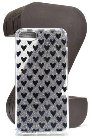 "Чехол накладка TPU для iPhone 7 (4.7 "") Сердечки Серебристый, фото 2"