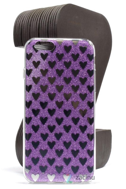 Чехол накладка TPU для iPhone 6 / 6S Сердечки Фиолетовый (353297)