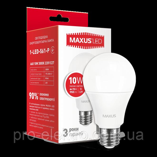 LED-лампа MAXUS A60 10W теплый свет E27 (1-LED-561-P)