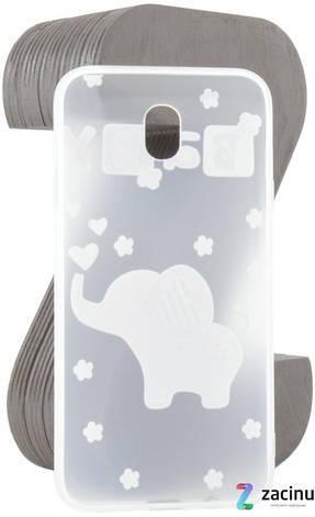 Чехол накладка TPU для Samsung J730F J7 (2017) Fashion ZOO ser. Слон (Baby) Прозрачный / матовый, фото 2