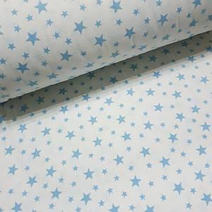 Фланелевая ткань голубые звезды на белом (шир. 2,4 м)
