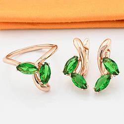 Набор Xuping R54 кольцо размер 18 + серьги 20х10 мм зелёные фианиты позолота РО