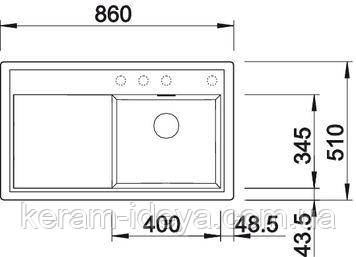 Кухонная мойка Blanco Zenar 45 S кофе 523838 левая, фото 2