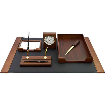 Настольный набор на 6 предметов из натурального дерева  Bestar 6148 WDN с часами цвет орех, фото 2