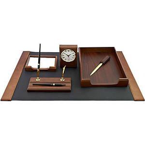 Настольный набор на 6 предметов из натурального дерева  Bestar 6148 WDN с часами цвет орех