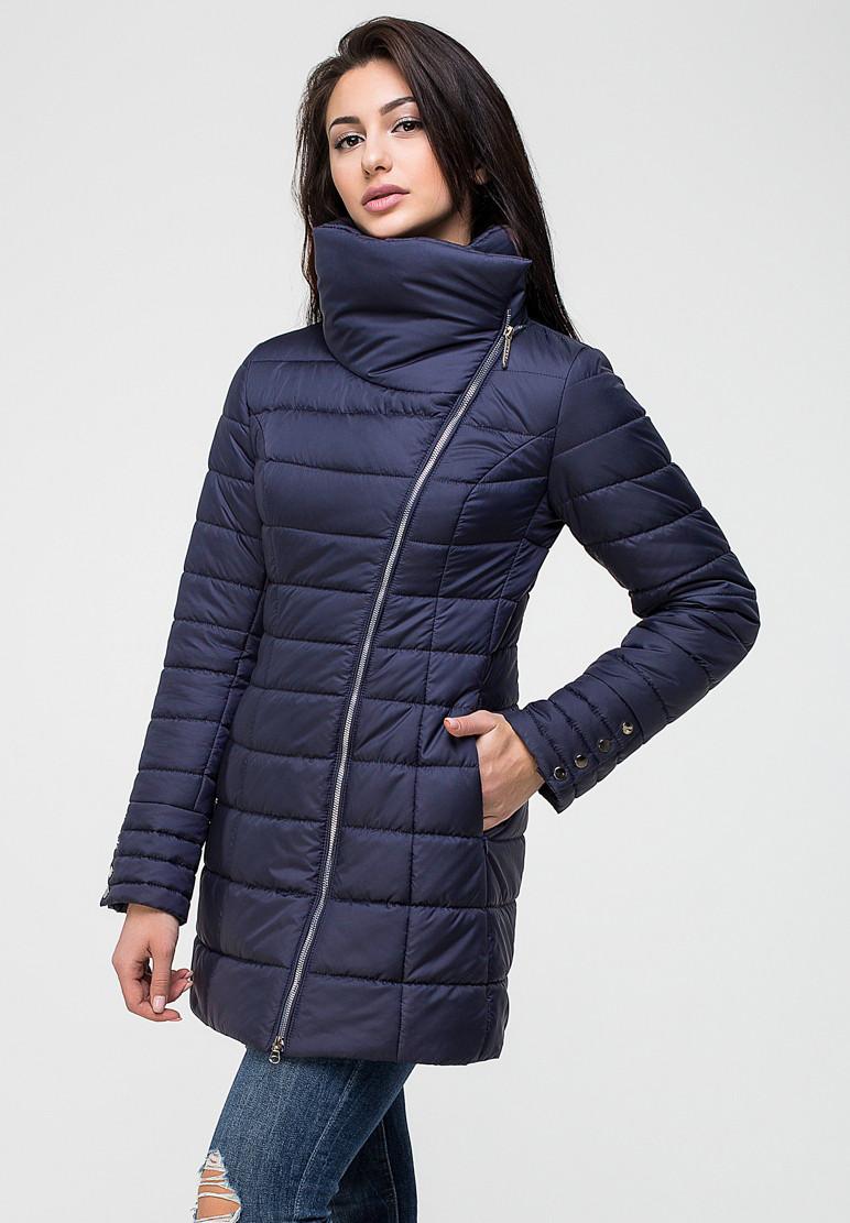 Стильная демисезонная женская куртка - темно-синяя - 44 размер