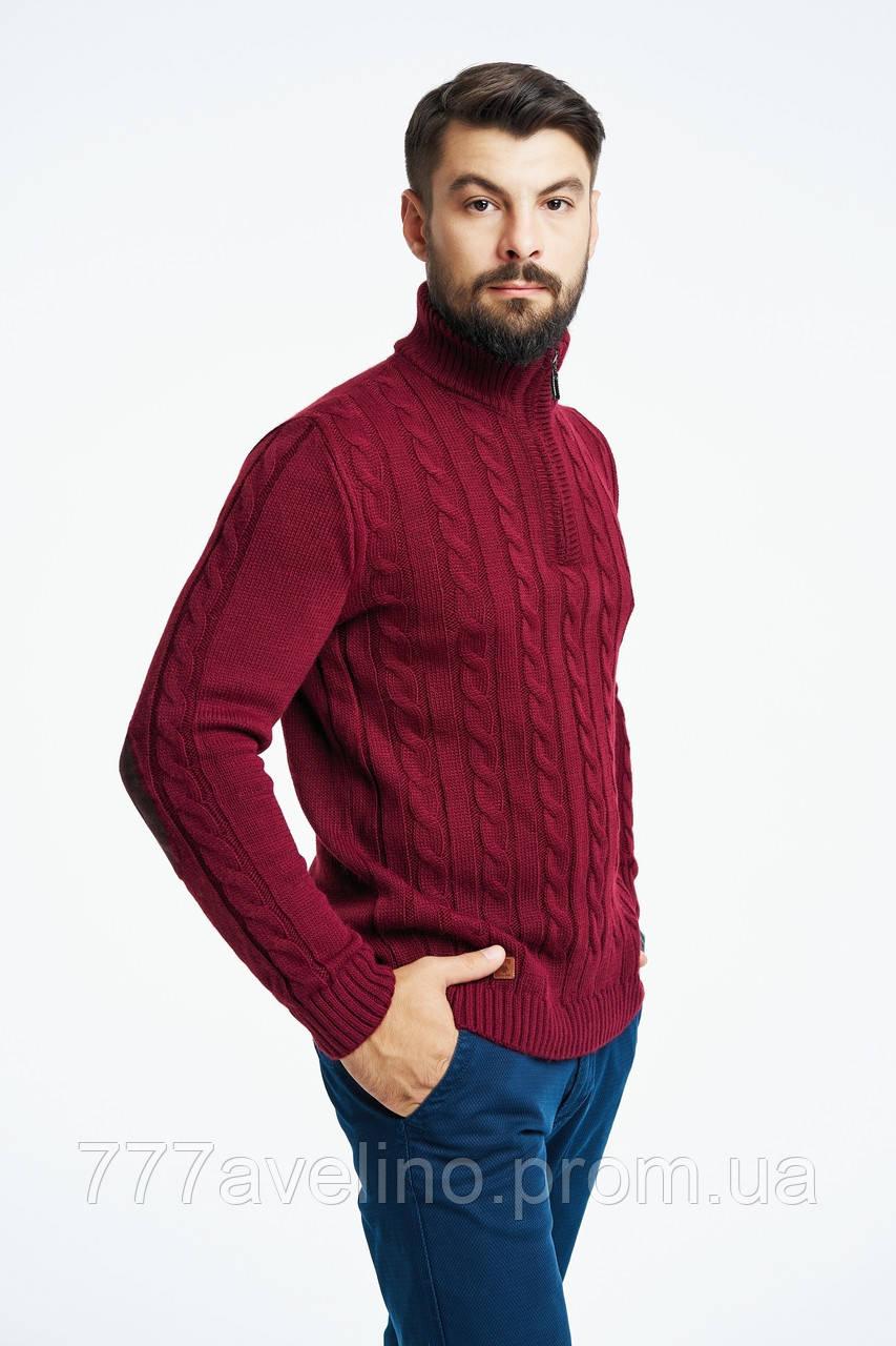 Теплий светр для чоловіків вовняний бордовий