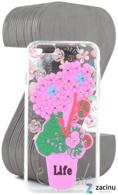 Чехол накладка TPU для iPhone 6 / 6S Flowers diamonds ser. Цветы (Life) Прозрачный / розовый