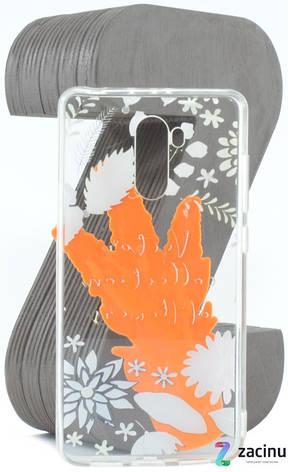 Чехол накладка TPU для Xiaomi Redmi 4 / Prime Flowers diamonds ser. Цветы (Love) Прозрачный / оранжевые, фото 2