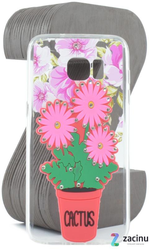 Чохол-накладка TPU для Samsung G935F S7 Edge Flowers diamonds ser. Квіти(Cactus) Прозорий/червоний